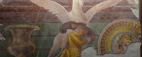 Rzymski fresk z Willi Misteriów w Pompejach, ukazujący przedstawiciela ludu Arimaspów, który podkrada złoto gryfowi