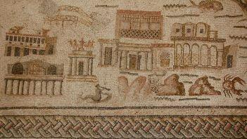 Antyczne budowle na rzymskiej mozaice