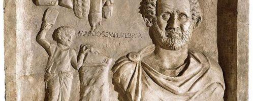 Tombstone relief showing Roman butcher