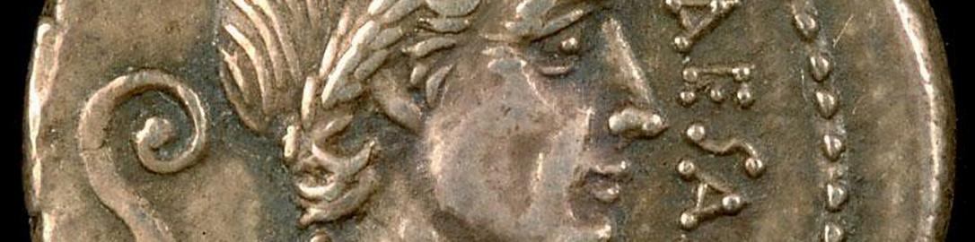 Rzymski srebrny denar ukazujący Cezara