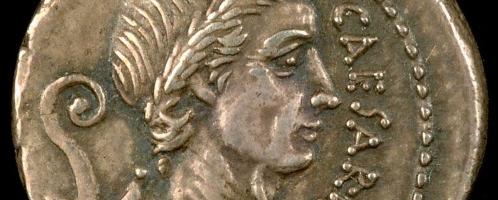 Roman silver denarius depicting Caesar